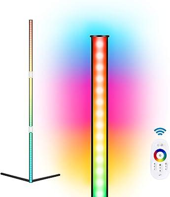 R+M LED-Eck-Stehlampe, 72LED RGB-Farbwechsel-Stehlampe, Stehlampe, Live-Hintergrundlampe, dimmbarer Speicher, Wohnzimmer- und Schlafzimmer-Atmosphäre-Stehlampe, rechtwinklig, Spielhallen, Schwarz