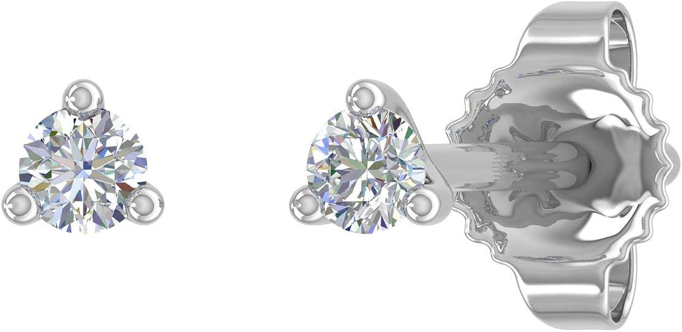 0.05 Carat 3-Prong Diamond Very Small Stud Earrings in 14K Gold