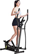 GYMAX Elliptical Machine, Magnetic Portable Elliptical Trainer with LCD Monitor, Heart Sensor & Built-in Wheels, Indoor Ca...