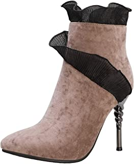 ELEEMEE Women Fashion Boots Pointed Toe Stiletto Heels Zip
