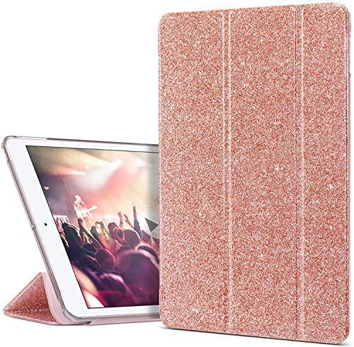 ULAK Funda Compatible para iPad 8ª Generación, iPad 7ª Carcasa Función de Despertador Automático Magnético y Sueño Smart Cubierta Trifold Soporte Caso para iPad 10.2 Pulgadas 2020/2019 - Rosa Brillo