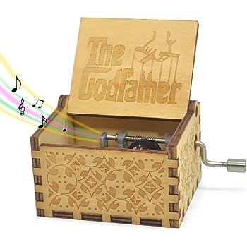 Sooye - Caja de música con manivela, mecanismo de 18 notas, caja de música tallada en estilo antiguo, Popular&Clásico, The Godfather, Pequeño, 1
