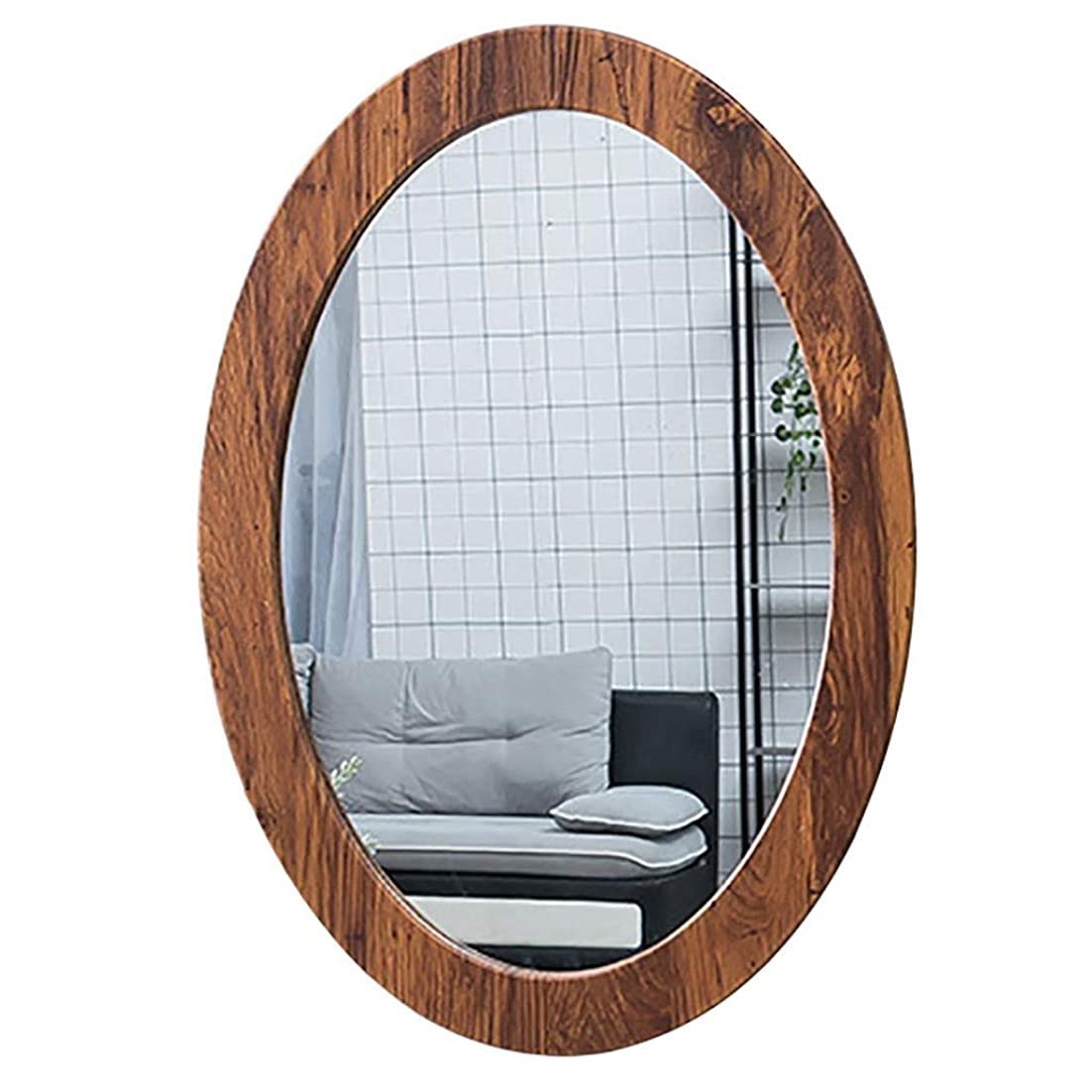 保存西部悪意のあるSelm 浴室ミラー壁掛け、洗面化粧台オーバルpvcフレーム化粧鏡用浴室洗面所廊下 (Color : Wood Grain, Size : 40CMx60CM)