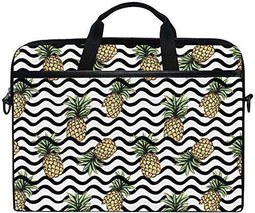 Pineapple Wave Laptop Schultertasche, Tropical Summer Fruit Travel Aktentasche für Männer Frauen, Business Portable Tragetasche Computer Laptop Handtasche für Notebook Tablet