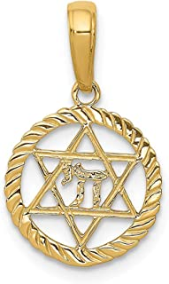 14k Yellow Gold Jewish Jewelry Star Of David Chi In Circle Pendant Charm Necklace Religious Judaica Fine Jewelry Gifts For Women For Her