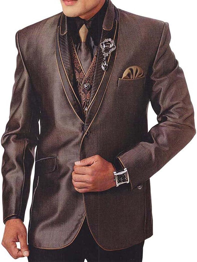 INMONARCH Mens Bronze 7 Pc Tuxedo Suit Golden Piping TX924