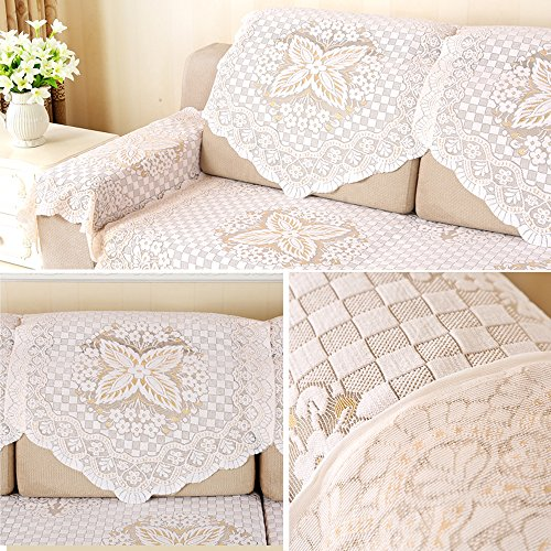 yazi Cotton Lace Sofa Throw Cover Loveseat Armchair Slipcovers Furniture Protector Sofa Back Covers Lace Table Sofa Doily 25 inch by 29 1/2 inch Butterfly Flower