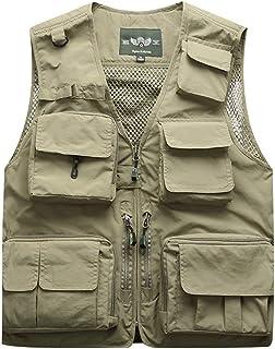 Men's vest Thin Outdoor vest mesh Multi-Pocket Fishing vest (Color : Khaki, Size : XL)