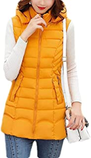 Macondoo Women Puffer Full-Zip Cotton-Padded Jacket Down Coat Hooded Vest