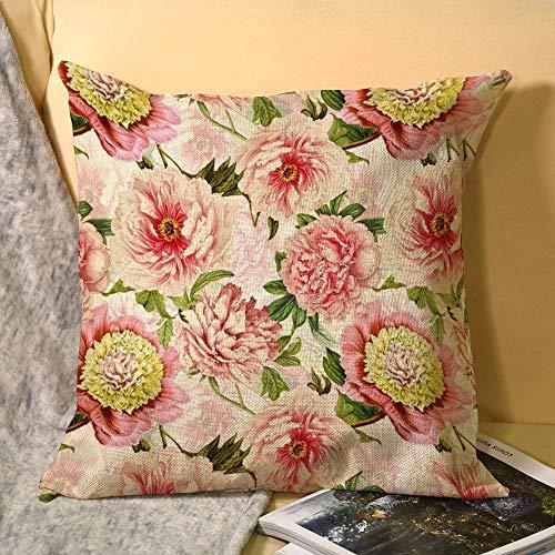 Redouté - Funda de almohada de lino con diseño de peonías