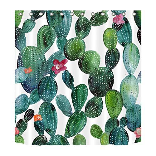 FGHJK Tessuto Waterpoof Tenda da Doccia Impermeabile WC Decorazione Bagno di Fiori Tropicali di Cactus Verdi