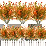 8PCS Artificial Flowers Outdoor UV Resistant Plants, 8 Branches Faux Plastic Corn-flower Greenery Shrubs Plants Indoor Outside Hanging Planter Kitchen Home Wedding Office Garden Decor (Green Orange)