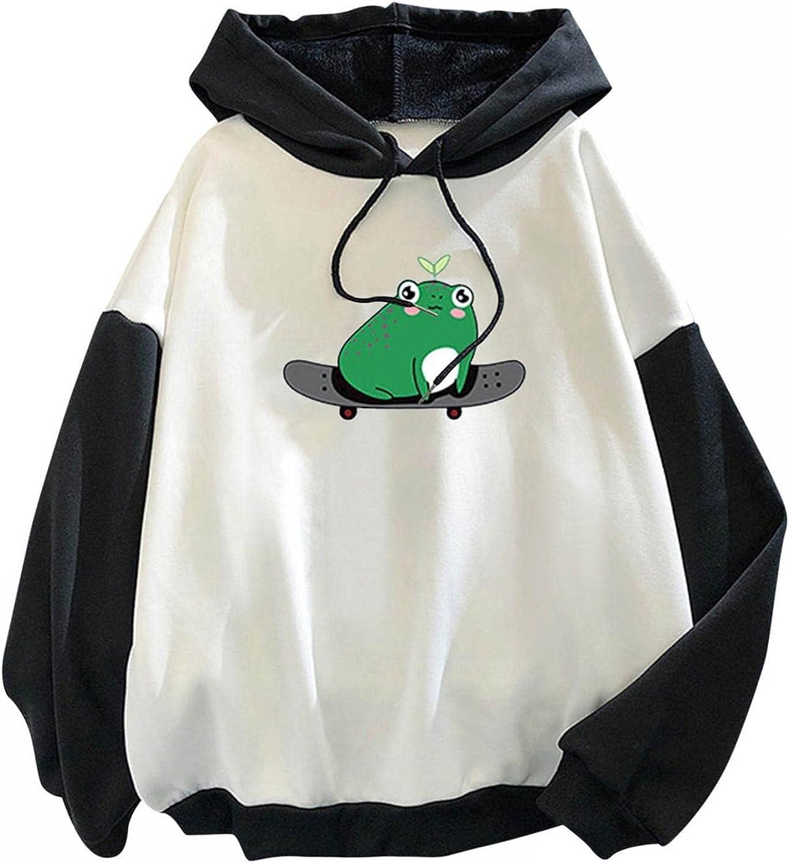 Sweatshirts for Women,Womens Crewneck Sweatshirts Graphic Cute Cartoon Frog Long Sleeve Drawstring Hoodie Pullover