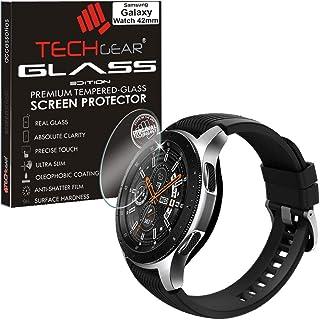 TECHGEAR Skärmskydd för Samsung Galaxy Watch 42 mm - glasutgåva äkta härdat glas skärmskydd skyddsskydd, smartklocka fitne...
