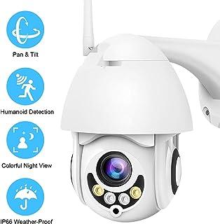 PTZ Camara Vigilancia Camara WiFi Exterior Impermeable IP66 con Audio de Dos Vías Visión Nocturna Detección de Movimiento Notificación de Alarma 320° Pan/110° Tilt