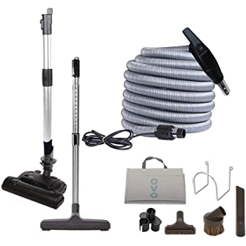 Amazon Com Ovo Central Vacuum Deluxe Plus Kit With 30ft Low Voltage Hose On Off Control At The Handle Air Driven Carpet Beater 12 Floor Brush And Accessories For Hard Surfaces And Carp Black