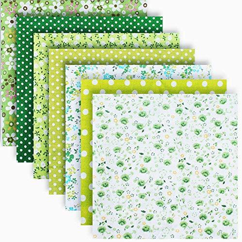 "Cotton Craft Fabric Bundle Patchwork Squares Quilting Sewing Patchwork DIY Scrapbooking Artcraft Different Pattern Cloths 7PCS 50cmX50cm(19.7""X19.7"") (Green Series)"