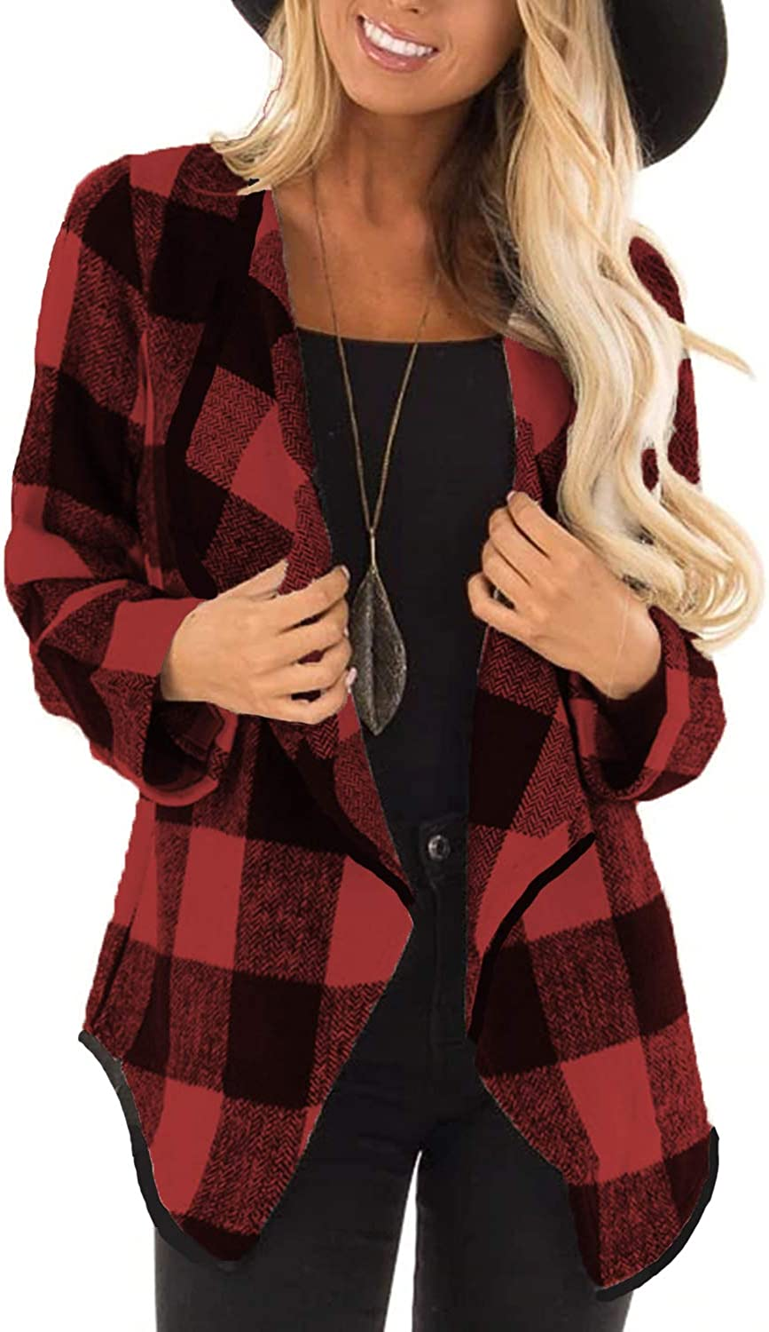 Deareba Womens Plaid Jacket Lapel Casual Long Sleeve Open Front Cardigans Coat Pockets