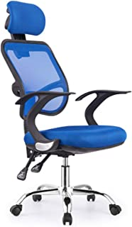 HYISHION Silla giratoria de oficina, silla de oficina de malla con diseño ergonómico ajustable, silla de escritorio para el hogar, dormitorio, oficina, estudio, reposabrazos fijos