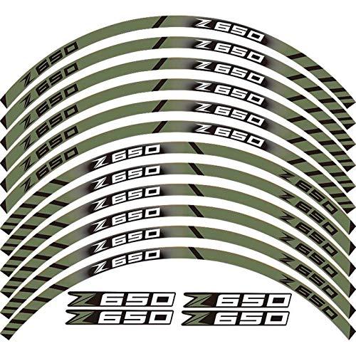 Calcomanías Motos Etiqueta de la rueda de la motocicleta 12 PCS Motocicleta Reflectante Neumático Calcomanías Ruedas Moto Pegatinas Protección de decoración Pegatina RIM para Z650 Z 650 pegatinas