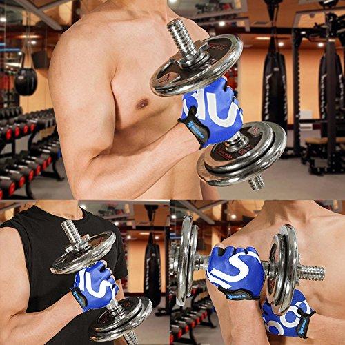 KONVINIT Fahrradhandschuhe Fingerlos Blaues Gummi Gepolstert Frauen & Herren Gym MTB Atmungsaktiv Rutschfestes Draussen Sport Gloves S by - 4