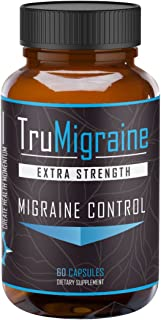 TruMigraine - All Natural Migraine Headache Prevention & Control Supplement. No Magnesium Stearate, Extra Strength Formula...