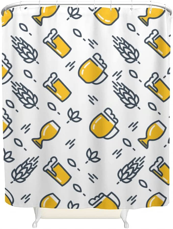 BBthrow Cartoon Beer Shower Fees free!! Curtain Waterproof Printed Wrinkle Bargain sale R