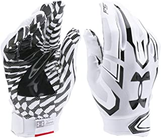 Under Armour UA F5 Grab Tack Advanced Skill Heat Gear Max Flex Football Receiver Gloves (Adult Men's Medium) White/Black Graphics