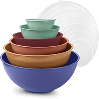 Cook with Color Mixing Bowls with Lids - 12 Piece Plastic Nesting Bowls Set includes 6 Prep Bowls and 6 Lids, Microwave Safe Mixing Bowl Set (Multicolored Set with Large Blue Bowl)