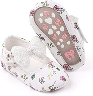 Sawimlgy Baby Girls Flower Mary Jane Flats with Bow Anti Slip Hard Sole Infant Crib Shoes Princess Dress Wedding Shoes
