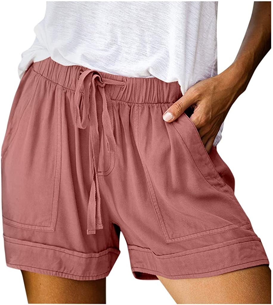 TOTOD Women Womens Comfy Drawstring Splice Casual Elastic Waist Pocketed Loose Shorts Pants