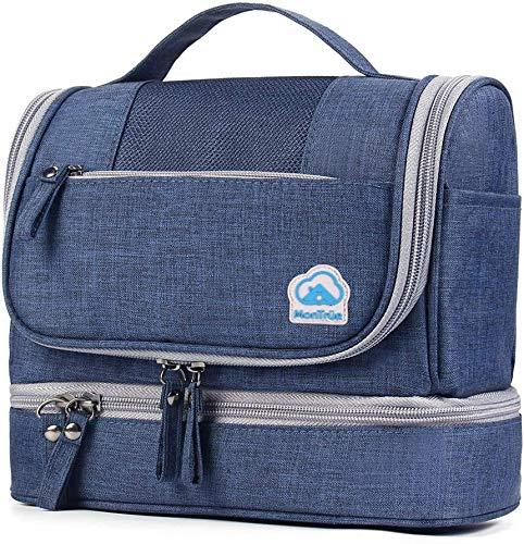MonTrüe Neceser Impermeable para Hombres y Mujeres | Bolsa de Aseo Colgante de 7 litros | Bolsa de cosméticos de Viaje para artículos de Viaje Secos y mojados, Azul