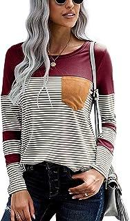 OrientalPort Maglietta da donna a righe patchwork a maniche lunghe, casual, girocollo, maniche lunghe
