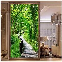 Wkxzz 壁の背景装飾画 カスタム写真壁紙壁壁森林歩道自然風景壁画入り口背景壁画紙-150X120Cm