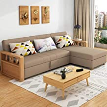 Reversible Sleeper Sectional Sofa with Storage and Wooden Handrail - 3 in 1 Compact Sofa Couch with Pull Out Bed and Large...