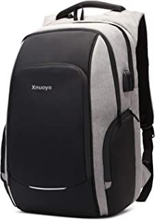 Xnuoyo Travel Laptop Backpack  15 6 Inch Business Anti Theft Lock Slim Durable Laptops Backpack with USB Charging Port Headphone Hole  Water Resistant College School Computer Bag for Women Men  Grey