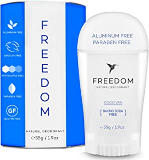 Baking Soda Free Freedom Natural Aluminum Free Deodorant Stick For sensitive Skin for Women & Men - Cruelty Free, and It REALLY works (Coconut Vanilla)