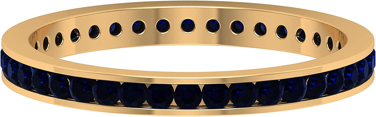 1/2 CT Channel Set Created Blue Sapphire Eternity Ring (AAAA Quality), 14K Solid Gold