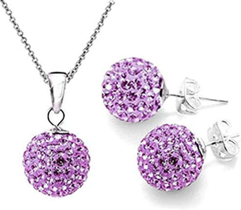 DONGMING Womens Crystal Disco Ball Pendant Necklace and Stud Earrings Set Rhinestone Wedding Jewelry Set for Brides & Bridesmaids,Purple