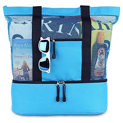 blue sky BASICS MALIBU Beach Bag - 2 in 1 Mesh Beach Tote Bag with Cooler + Free Beach Gift