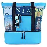 Blue Sky Basics Malibu Beach Bag - 2 in 1 Mesh Beach Tote, Sky Blue, Size Large