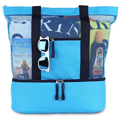 Blue Sky Basics Malibu Beach Bag - 2 in 1 Mesh Beach Tote, Sky Blue, Size Large