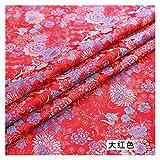 VIAIA Tela Brocade Hermosas Telas con Tela de patrón de crisantemo para el Vestido DIY (Color : Red, Size : 50x75cm)