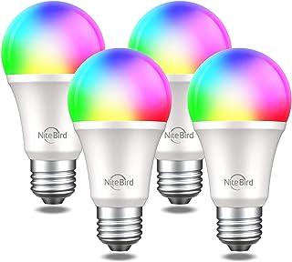 لامپ هوشمند NiteBird با لامپهای LED Google Home A19 E26 WiFi Multicolor Dimmable Lights، 2700k RGB، 75W معادل ، بدون توپی لازم است ، 4 بسته