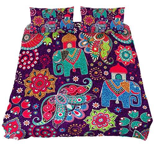 NOBRAND Jeans Floral Indian Elephants Ropa de cama Conjuntos King Size 100% Polyster Funda de edredón con cierre de cremallera