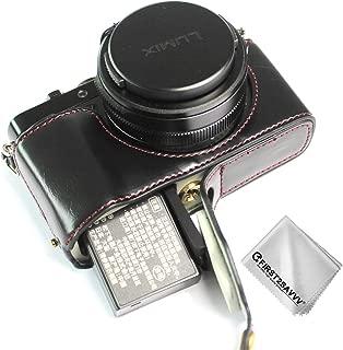 FIRST2SAVVV 黒 パナソニックPanasonic Lumix DC-LX100 II 専用 PU 半分レザー レフ カメラバッグ カメラケース +クリーニングクロス XJD-LX100 II-D01G11