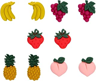 MengPa Cute Fruits Stud Earrings for Women Girls Polymer Clay Fashion Jewelry Gifts 5 Pair
