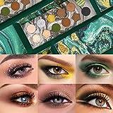 OLesley 12 colores Maquillaje De Paleta De Sombras De Ojos Paleta de sombras de ojos verdes Paleta de colores cosméticos a prueba de agua Sombra de ojos mate profesional con brillo ..
