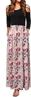 UXELY Women's Cold Shoulder Floral Print Elegant Maxi Long Dress with Pocket