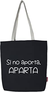 Hello-Bags Bolso Tote, Algodón 100%, Negro, con Cremallera, Forro y Bolsillo Interior, 37x38 cm + (asa: 28 cm), Incluye so...
